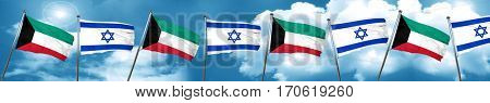 Kuwait flag with Israel flag, 3D rendering