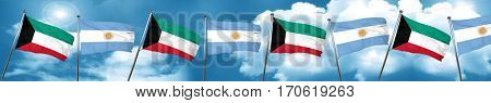 Kuwait flag with Argentine flag, 3D rendering