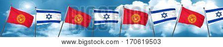 Kyrgyzstan flag with Israel flag, 3D rendering