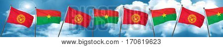 Kyrgyzstan flag with Burkina Faso flag, 3D rendering