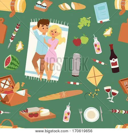Picnic setting with red wine glasses seamless pattern picnic hamper basket. Barbecue resting couple and icons. Summer meal party family people. Lunch garden character vector illustration.