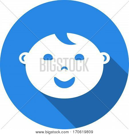 baby face round blue vector icons with shadow