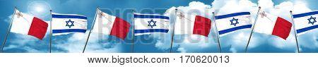 Malta flag with Israel flag, 3D rendering