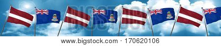 Latvia flag with Cayman islands flag, 3D rendering
