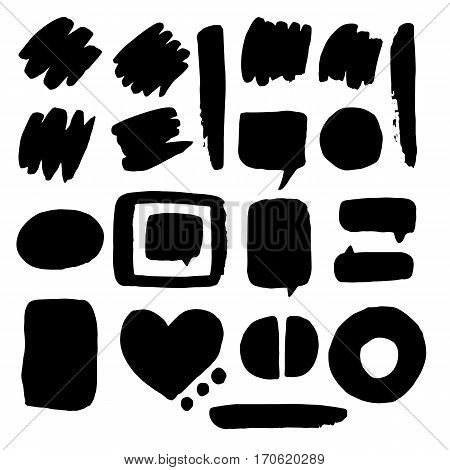 Doodle set of speech bubble. It contains speech bubbles of different shapes and sizes. Speech bubbles black and white background.