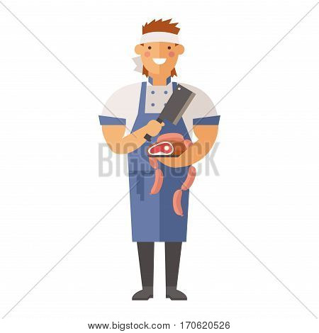 Beautiful young chef decorating delicious character vector illustration. Recipe worker garnish kitchen cuisine professional uniform human. Gourmet work dish.