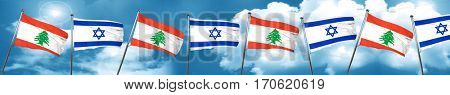 Lebanon flag with Israel flag, 3D rendering