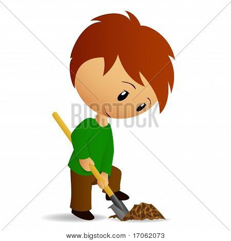 Young Man Working Digger With Spade