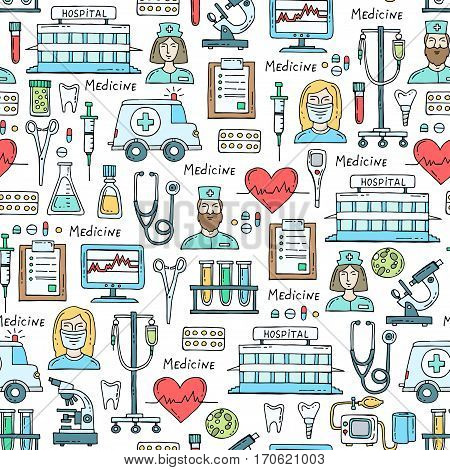Vector seamless pattern with hand drawn colored symbols of hospital pharmacy. Pattern on the theme of medicine medical equipment. Background for use in design
