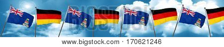 cayman islands flag with Germany flag, 3D rendering