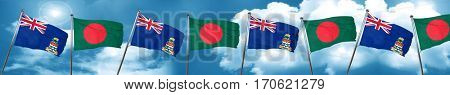 cayman islands flag with Bangladesh flag, 3D rendering