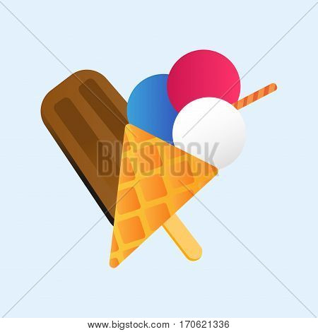 Chocolate vanilla ice cream cone soft delicious vector illustration. Refreshing dairy frozen product. Sweet flavor creamy tasty mixed food.