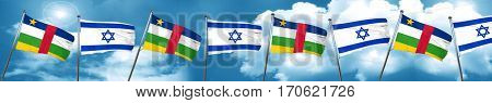 Central african republic flag with Israel flag, 3D rendering