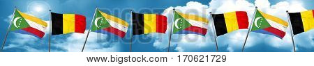 Comoros flag with Belgium flag, 3D rendering