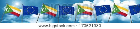 Comoros flag with european union flag, 3D rendering