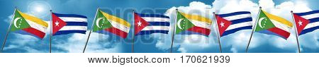 Comoros flag with cuba flag, 3D rendering