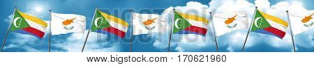 Comoros flag with Cyprus flag, 3D rendering