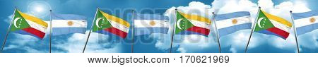 Comoros flag with Argentine flag, 3D rendering