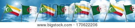 Comoros flag with Algeria flag, 3D rendering