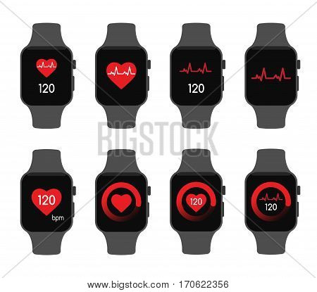 isolated vector illustration. Heart beat rate smart watch health care sport