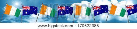 Ivory coast flag with Australia flag, 3D rendering