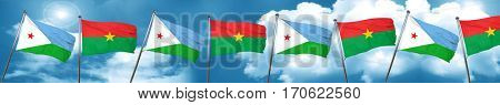 Djibouti flag with Burkina Faso flag, 3D rendering