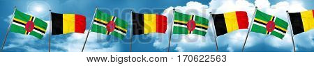 Dominica flag with Belgium flag, 3D rendering