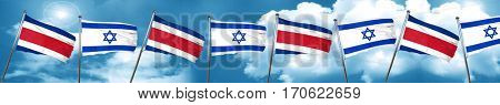 Costa Rica flag with Israel flag, 3D rendering