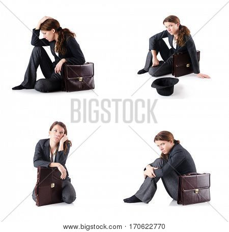 Bankrupt businesswoman isolated on white