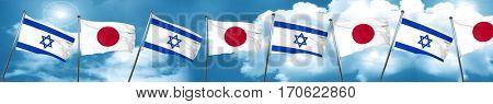Israel flag with Japan flag, 3D rendering
