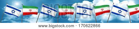 Israel flag with Iran flag, 3D rendering