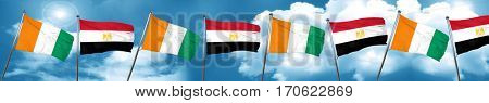 Ivory coast flag with egypt flag, 3D rendering
