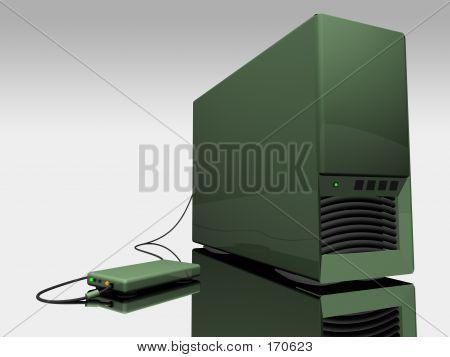 Green Computer Tower