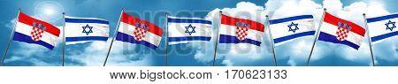 croatia flag with Israel flag, 3D rendering