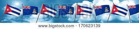 Cuba flag with Cayman islands flag, 3D rendering