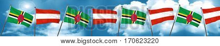Dominica flag with Austria flag, 3D rendering