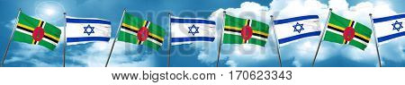 Dominica flag with Israel flag, 3D rendering