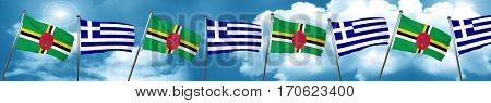 Dominica flag with Greece flag, 3D rendering