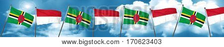 Dominica flag with Indonesia flag, 3D rendering