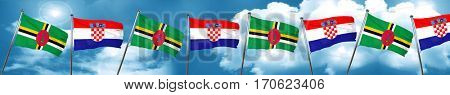 Dominica flag with Croatia flag, 3D rendering