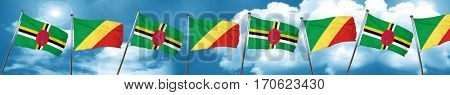 Dominica flag with congo flag, 3D rendering