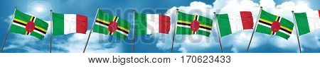 Dominica flag with Italy flag, 3D rendering