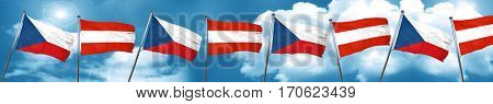 czechoslovakia flag with Austria flag, 3D rendering