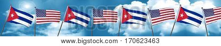 Cuba flag with American flag, 3D rendering