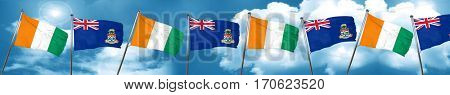 Ivory coast flag with Cayman islands flag, 3D rendering