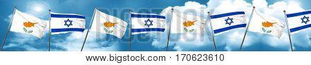 Cyprus flag with Israel flag, 3D rendering