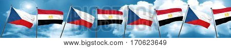czechoslovakia flag with egypt flag, 3D rendering