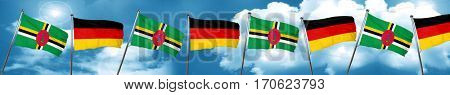 Dominica flag with Germany flag, 3D rendering