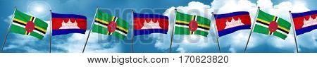 Dominica flag with Cambodia flag, 3D rendering