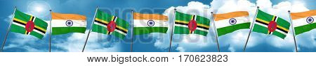 Dominica flag with India flag, 3D rendering